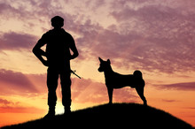 Silhouette Of Soldiers With Weapons And Dogs