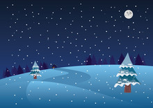 Winter Christmas Holiday. Night Landscape With Snow. Simple Flat Vector Illustration.