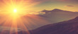 canvas print picture - Panoramic view of mountains, autumn landscape with foggy hills at sunrise.