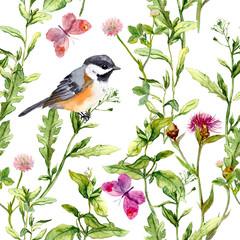 Fototapeta Przyprawy Meadow with butterflies, birds and herbs. Seamless watercolor floral pattern.