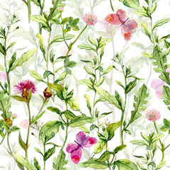 Panel Szklany Podświetlane Vintage Spring garden: grass, herb and flowers with butterflies. Vintage watercolor. Retro seamless pattern