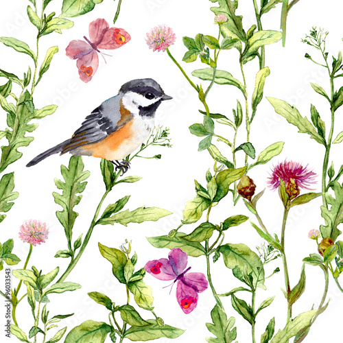 Meadow with butterflies, birds and herbs. Seamless watercolor floral pattern.  - 96033543
