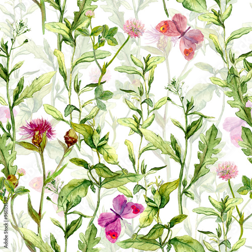 Cotton fabric Spring garden: grass, herb and flowers with butterflies. Vintage watercolor. Retro seamless pattern
