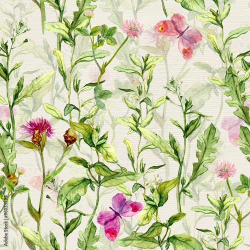 lakowa-trawa-ziele-i-kwiaty-z-motylami-akwarela-powtarzalny-wzor