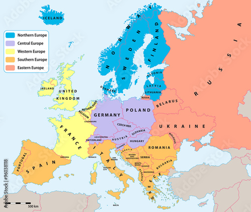 Main european regions map. All data are in layers for easy editing ...