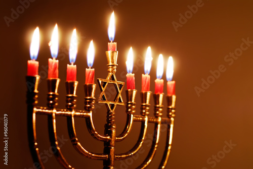 Fototapeta Glowing Hanukkah Candles