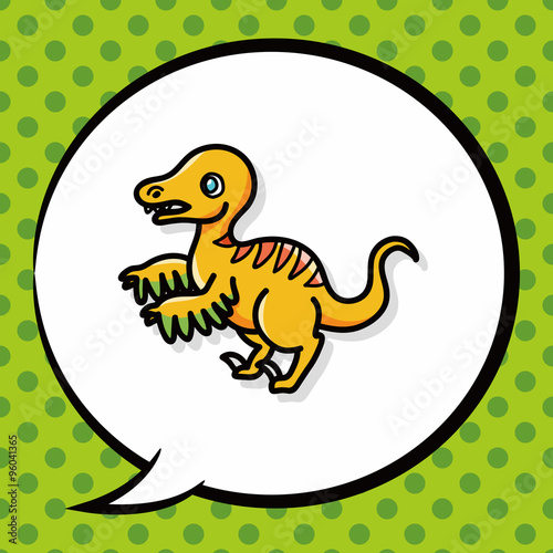 Photo  dinosaur doodle, speech bubble