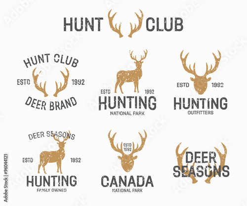 Set of vintage hunting and deer logo and label design elements