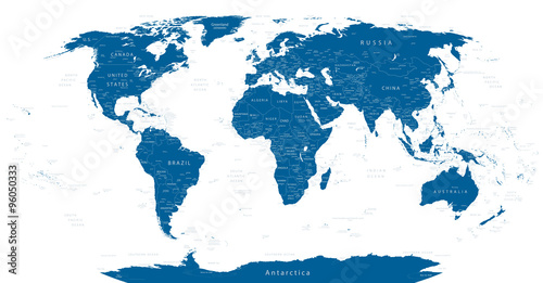 Highly Detailed World Map Fototapet