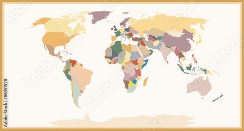 Fototapeta Highly Detailed Blind Political World Map Vintage Colors