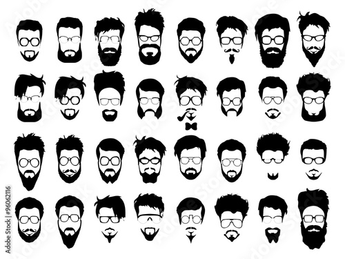 Fotografie, Obraz  Vector set of hipster style haircut, glasses, beard, mustache