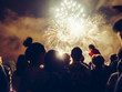 canvas print picture - Crowd wathcing fireworks