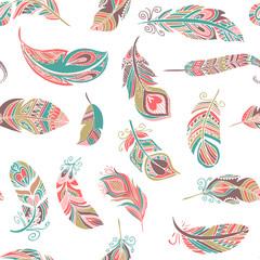 FototapetaBohemian style feathers seamless pattern