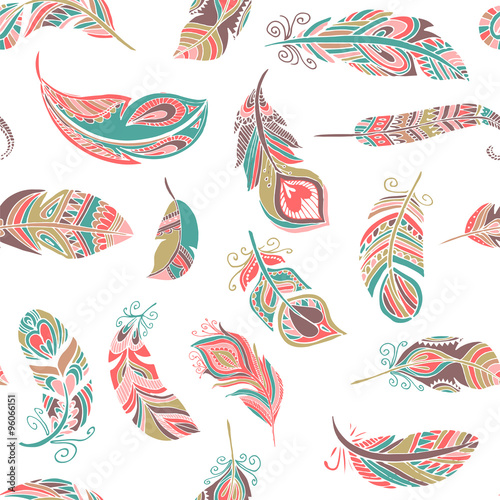 Photo  Bohemian style feathers seamless pattern
