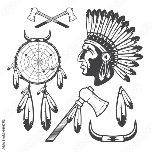 American Indian Clipart Icons And Elements Isolated On White