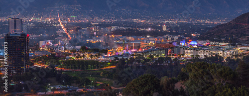 Panoramic View of Studio City, San Fernando Valley, Los Angeles, Canvas Print