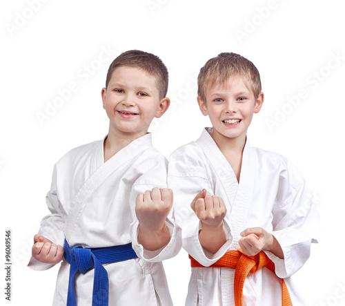 Deurstickers Vechtsport Two athletes doing karate technique