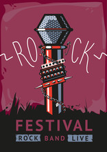 Rock Poster With A Microphone. Design Template With A Vector Illustration And Text For Rock Music