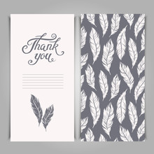 Elegant Thank You Card Template With Silver Feathers Symbols