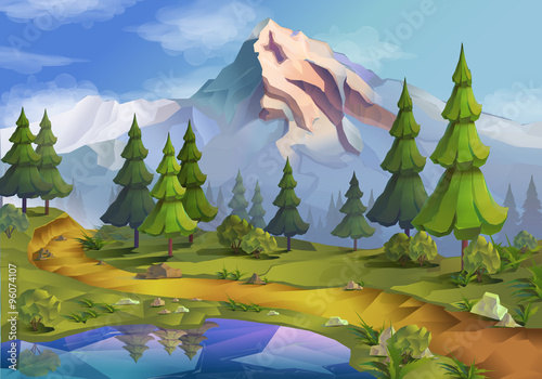 Deurstickers Pool Landscape, nature vector background