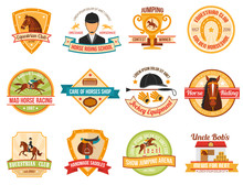 Horse Sport Color Emblems Set