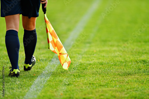 Assistant referee on soccer field Canvas Print