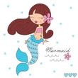 beauty of the sea mermaid vector illustration