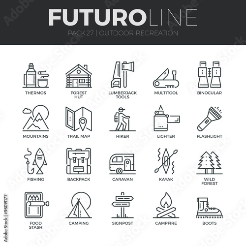 фотографія  Outdoor Recreation Futuro Line Icons Set