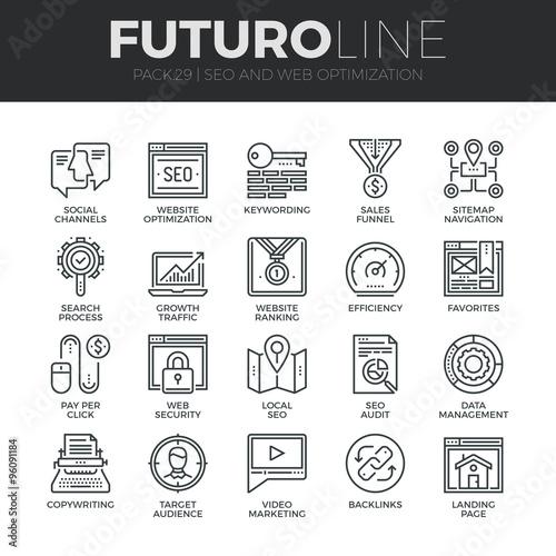Photo  Search Engine Optimization Futuro Line Icons Set