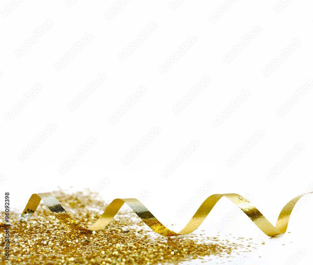 Fototapety, obrazy: ruban bolduc doré avec paillettes sur fond blanc