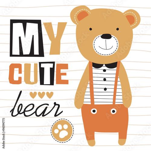 my cute teddy bear vector illustration