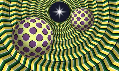 FototapetaTwo ball flying to star through a cylindrical tunnel. Abstract vector illustration with optical illusion of movement.