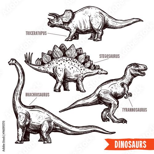 Hand drawn dinosaurs set black doodle Wallpaper Mural
