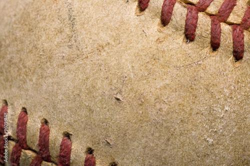 Photo  softball with red stitching