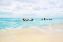 The Group Of Tourists Riding H...