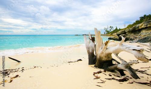 The view of a beach  on uninhabited island Half Moon Cay (The Ba
