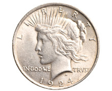 Antique Silver Dollar Isolated