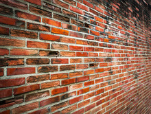 Old Cracked Red Brick Wall Wit...