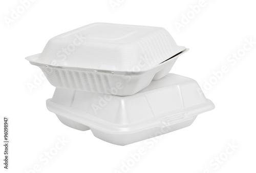 Styrofoam box on white background