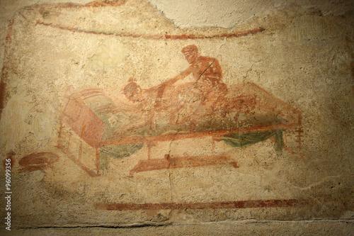 Pompeian fresco. Pompeii (Naples - Italy) Canvas Print
