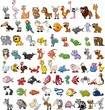 Super set of cute cartoon animals