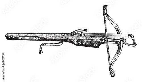 Fotografia Crossbow round, vintage engraving.
