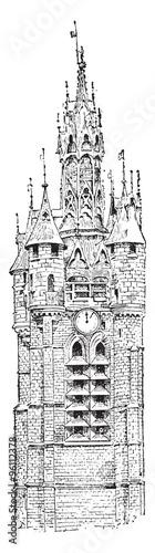 Fotografia Belfry, vintage engraving.