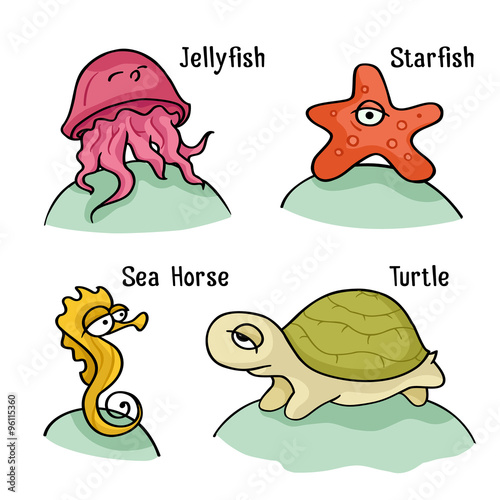 Cute Baby Sea Creatutes Cartoon Character Set With Ocean Animals