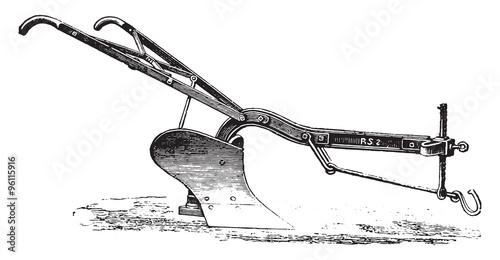 Photo  Plow iron age to Eckert, vintage engraving.