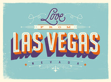 Vintage Style Touristic Greeting Card With Texture Effects - Love From Las Vegas, Nevada - Vector EPS10.
