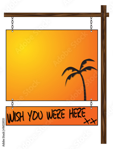 Fotografía  Wish You Were Here Hanging Sign