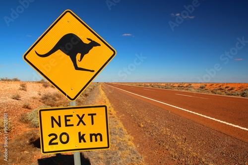 Spoed Foto op Canvas Kangoeroe Australian road sign on the highway