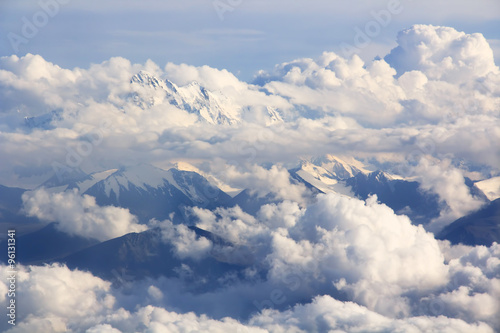 Mountains and clouds - aerial view Wallpaper Mural