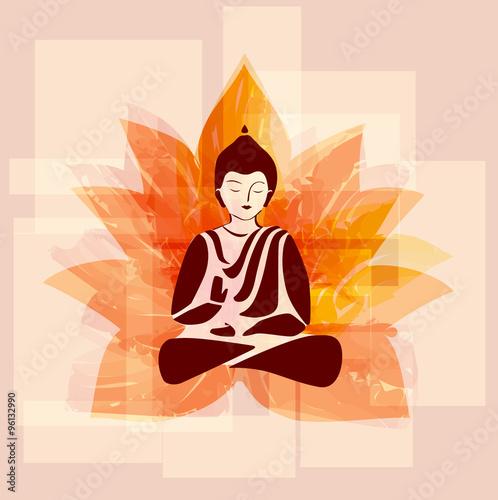 Buddha silhouette with lotus flower.